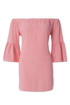 Quiz Coral Bardot Flute Sleeve Tunic Dress