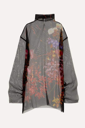 Dries Van Noten Darci Oversized Floral-print Silk-tulle Tunic - Black