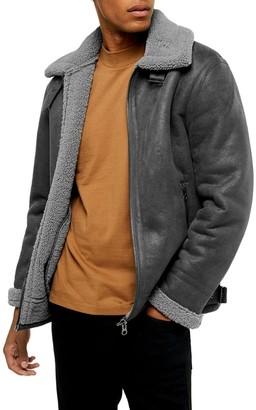 Topman Faux Shearling Aviator Jacket