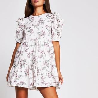 River Island Cream short sleeve cotton floral mini dress