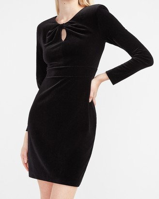 Express Velvet Knotted Neck Sheath Dress