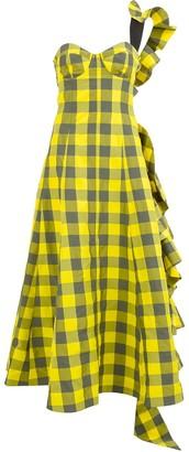 Natasha Zinko One-Shoulder Bustier Check Dress