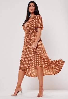 Missguided Plus Size Rust Polka Dot Wrap Midi Dress
