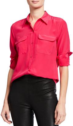 Equipment Slim Signature Long-Sleeve Silk Button-Down Blouse