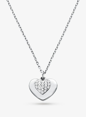 Michael Kors Precious Metal-Plated Sterling Silver Pave Heart Necklace - Gold
