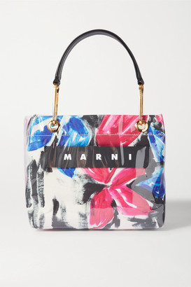 Marni Glossy Grip Leather-trimmed Floral-print Coated-canvas Tote - Pink