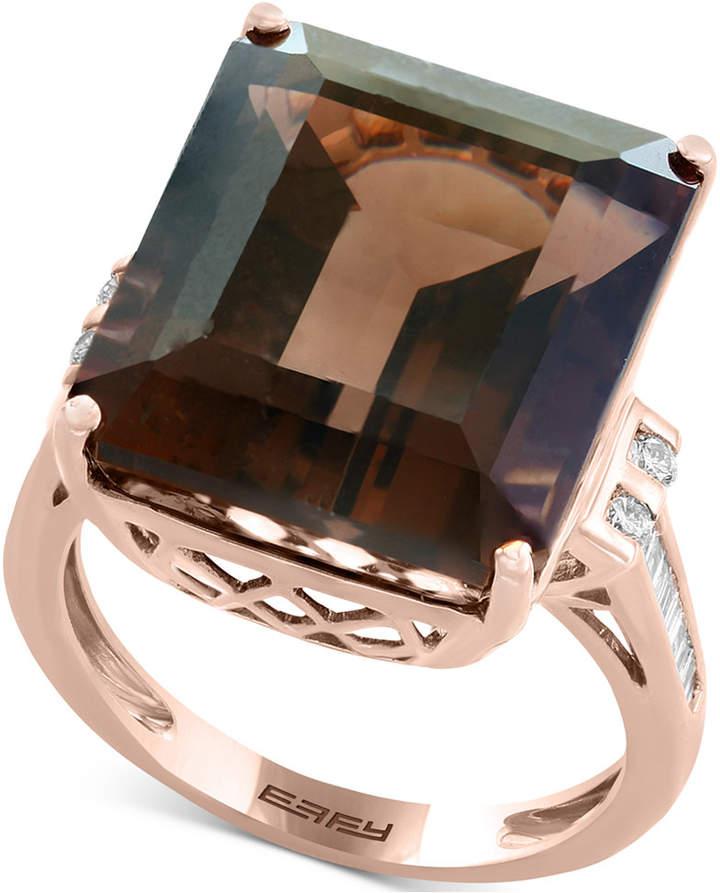 Effy Sienna by Smoky Quartz (16-9/10 ct. t.w.) & Diamond (1/5 ct. t.w.) Ring in 14k Rose Gold