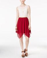 Amy Byer Juniors' Crocheted Handkerchief-Hem Dress