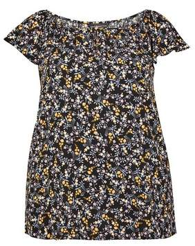 Dorothy Perkins Womens **Billie & Blossom Curve Black Ditsy Print Button Top, Black