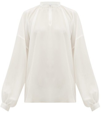Raey Gathered Balloon-sleeved Silk Crepe De Chine Top - Womens - Ivory