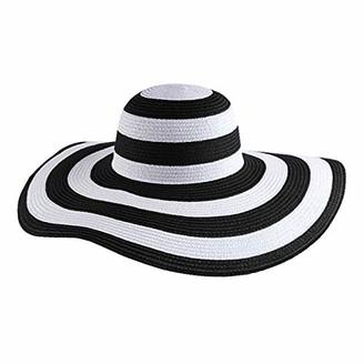 La Huate LA Haute Women Fashion Sun Hat Vintage Striped Straw Hat Large Wide Brim Floppy Beach Hat Cap Black