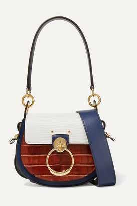 Chloé Tess Small Croc-effect And Lizard-effect Leather Shoulder Bag - Blue