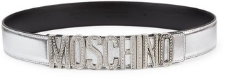 Moschino Crystal-Embellished Logo Metallic Leather Belt
