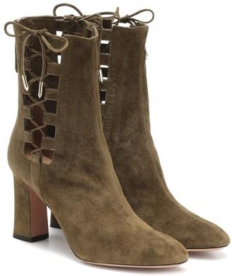 Aquazzura Medina 85 suede ankle boots