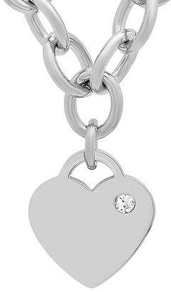 Swarovski Steel Time Women's Necklaces Metallic - Stainless Steel Heart Necklace With Crystals
