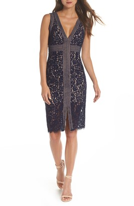 Bardot Morgan Front Slit Lace Sheath Dress