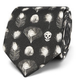 Alexander McQueen 6cm Peacock Feather-Print Silk Tie