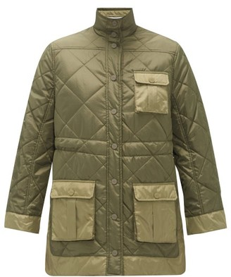 Ganni Quilted Recycled-ripstop Jacket - Womens - Khaki