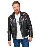 Joe Browns Mens Real Leather Biker Style Zip Up Jacket with Badges Black