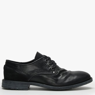 Daniel Prentishoe Black Leather Ruched Lace Up Shoes