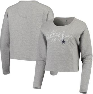 Unbranded Women's Heathered Gray Dallas Cowboys Winona Cropped Pullover Sweatshirt
