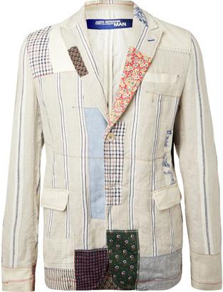 Junya Watanabe Slim-fit Patchwork Linen Blazer - Neutrals