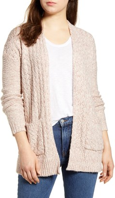 Lucky Brand Mixed Stitch Open Front Cardigan