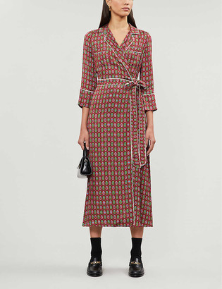 Claudie Pierlot Role paisley-print satin midi wrap dress