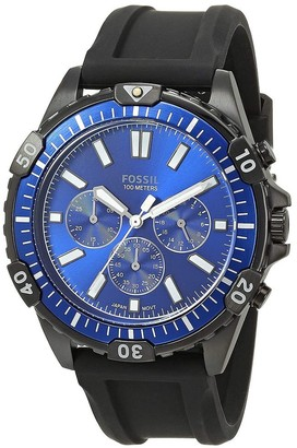 Fossil Mens Black Silicone Chrongraph Blue Dial Watch