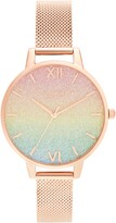 Olivia Burton Rainbow Glitter Dial Mesh Strap Watch, 34mm