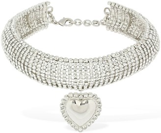 Alessandra Rich Crystal Choker W/ Heart Pendant