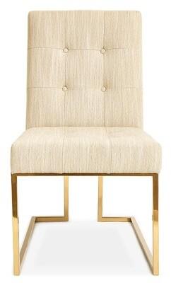 Jonathan Adler Goldfinger Tufted Upholstered Side Chair Upholstery Color: Linen - Natural
