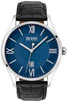 HUGO BOSS Governor Stainless Steel Textured Leather-Strap Watch