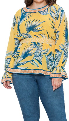 Flying Tomato Belll Cuff Printed Blouse