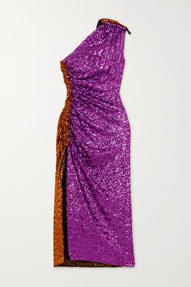 16Arlington Rogers One-shoulder Sequined Chiffon Midi Dress - Pink