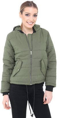 Top Vendor New Ladies Women Quilted Puffer Padded Bubble Coat Long Sleeve Hooded Jacket [Charcoal M]