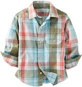 Carter's Button Down Shirt (Baby) - Green Plaid-3 Months