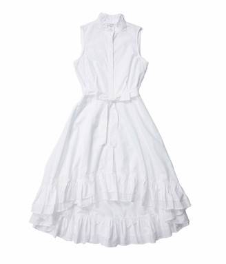 Calvin Klein Women's High Low Sleeveless Shirt Dress with Ruffle Detail