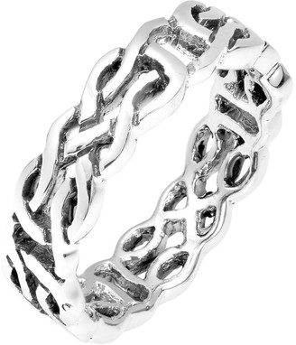 Aeravida Handmade Majestic Celtic Knot Band Sterling Silver Ring