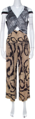Yigal Azrouel Multicolor Abstract Print Strappy Cropped Jumpsuit M