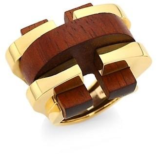 David Webb Woodworks 18K Yellow Gold & Cocobolo Bridge Ring