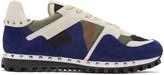 Valentino White & Blue Camo Rockstud Sneakers