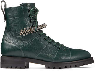 Jimmy Choo CRUZ FLAT Dark Green Grainy Leather Combat Boots with Crystal Detail