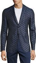 Etro Geometric Jacquard Sport Jacket, Blue