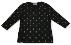 Karen Scott Plus Size Lotus Zen Henley Top, Created for Macy's