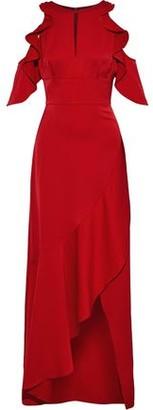 ML Monique Lhuillier Cold-shoulder Ruffled Satin-crepe Gown