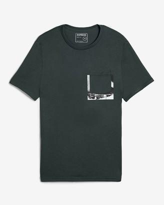 Express Dark Green Pocket Graphic T-Shirt