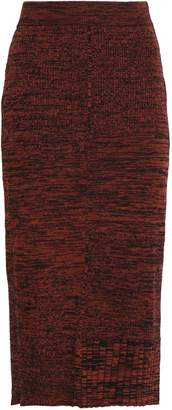 Pringle Ribbed Melange Wool And Cotton-blend Midi Skirt