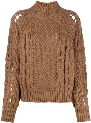 BA&SH High-Neck Cable-Knit Jumper