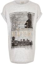 River Island Girls grey New York sparkly T-shirt